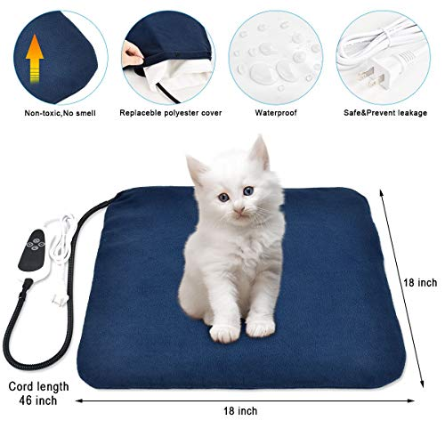 """RIOGOO Pet Heating Pad, Electric Heating Pad for Dogs and Cats Indoor Warming Mat with Auto Power Off (M:18"""" x 18"""")"""