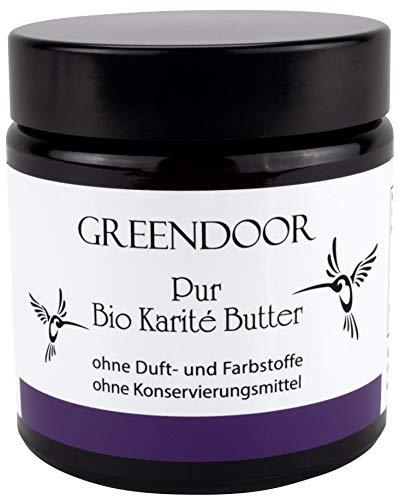 PUR BIO Karité-Butter 120ml, reine vegane BIO Sheabutter incl Bambus Kosmetikspatel, Biokosmetik, kaltgepresst organisch zertifiziert, natürlich pflegende Naturkosmetik, Natur Hautpflege Shea Butter