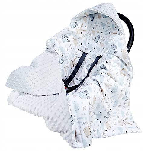 Einschlagdecke Babyschale 90x90cm Kuscheldecke für Kinderwagen Babyschale universal baby Decke doppelseitig Babydecke Buggy Autositz (GRAU-Eulen und Hasen)