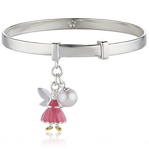 Molly Brown London Sterling Silver & Freshwater Pearl Personalised Pink Fairy Baby Bangle - Perfect 1st Birthday Gift for Girl & Christening Jewellery