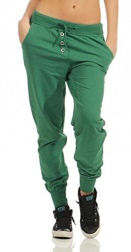 Damen Freizeithose Sporthose Sweat Pants lang (623), Grösse:XL / 42, Farbe:Grün