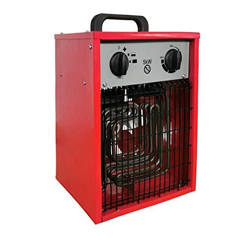 LZQ 5 kW Elektroheizer Elektrisch Mobiltelefon Heizlüfter Elektroheizer inkl. Mehrstufen-Temperaturregelung bis 5.000 Watt Bauheizer mit Thermostat