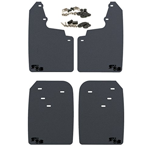RokBlokz Mud Flaps for Toyota Tacoma - Fits 2016+ Model Years - Multiple Colors Available - Set of 4 - Includes Hardware and Detailed Instructions (Regular, Black with Black Logo)