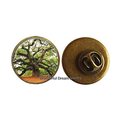 Tree of Life Pin, Photo Pin, Tree Brooch,Glass Charm Brooch,Family Tree Brooch,Tree of Life Jewelry,PU076 (Brass)