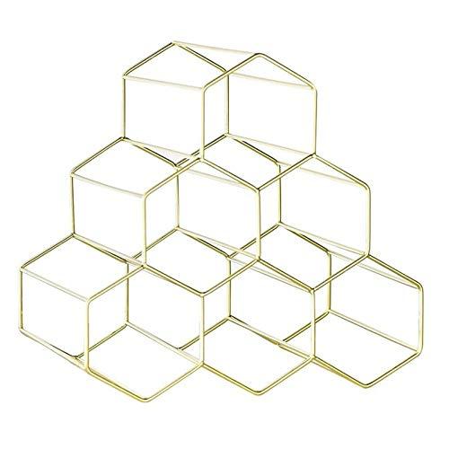 JTRHD Casier à vin de Bouteille Bar Wine Cabinet Shop Display Décoration Simple Fer à nid d'abeille en nid d'abeille pour Armoire/Placard/comptoir (Couleur : Gold, Size : Medium)