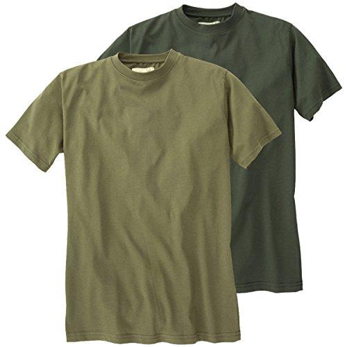 Hubertus Doppelpack T-Shirt Oliv/Schilf Übergröße, XL Größe:6XL
