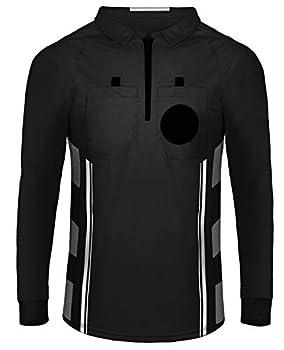 Yuar butee Referee Shirts Men s Basketball Football Soccer Sports Referee Umpire Shirt Referee Shirt Jersey Costume Full Sleeves Black 2XL