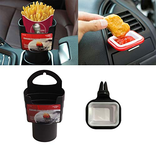 XXJIC 2 PCS Fries Titular de la Tapa Snack Caja de refrigerio y Soporte de Salsa para el automóvil Dip Bay SALSETIS Cabeza DE Taza DE Taza DE Taza