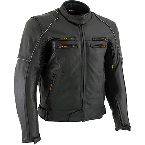 Vulcan VNE98431 'Ace' Men's Black Leather Armored Motorcycle Jacket - X-Large