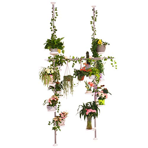 Hershii Adjustable Indoor Plant Stands Double Tension Pole Stainless Steel Flower Display Racks Holder Corner Storage Shelves with 12 Trays, 2 Hooks & 1 Telescopic Clothes Drying Hanging Rod - Ivory