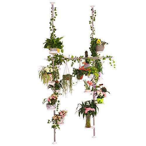 Hershii Verstellbarer Pflanzenständer für den Innenbereich, doppelte Spannstange, Edelstahl, Blumenständer, Eckregal, mit 12 Ablagen, 2 Haken und 1 Teleskopstange, elfenbeinfarben