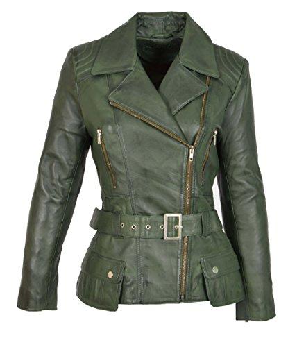 Damen Lederjacke Tailliert Hüfte Länge Taille Gürtel Biker Style Celia Grün (XL (42))