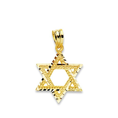Ciondolo a forma di stella di David in oro giallo 18 carati, misura 14 mm