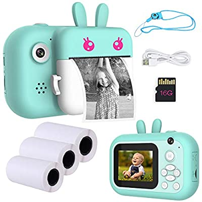 """Seelaugh Mini Camera Instant Print Camera for Kid Boys Girls Pink 2.4"""" Color Screen Toy Camera with Print Paper and SD Card from"""