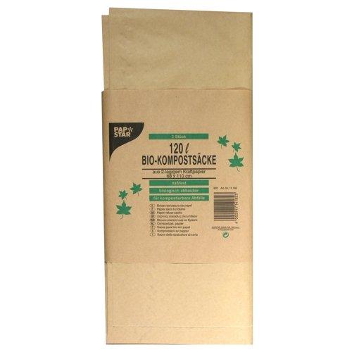 Papstar 14182 Lot de 3 sacs à compost en papier kraft 120 l 110 x 68 cm