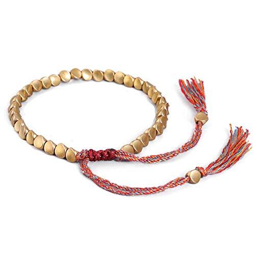 WSNDG Handgemachtes tibetisches Kupferperlenarmband, Metal Unisex Armband, für Frauen Männer Wachsfaden Handgelenkschmuck