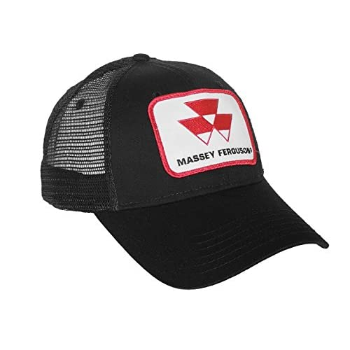J&D Productions Black Massey Ferguson Tractor Logo Hat with Mesh Back at Amazon Mens Clothing store: