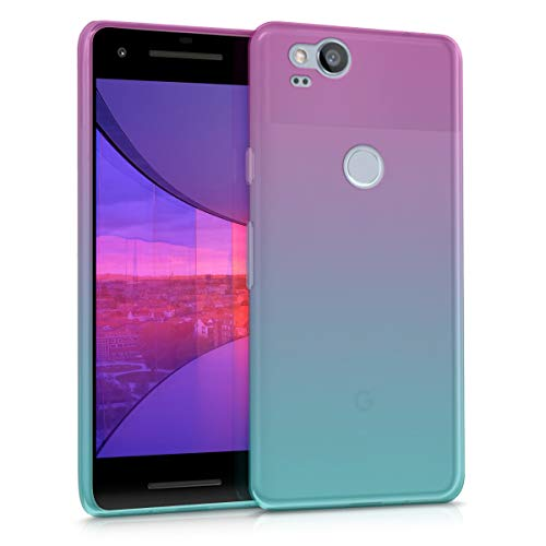 kwmobile Case for Google Pixel 2 - Clear TPU Soft Phone Cover - Bicolor Design, Dark Pink/Blue/Transparent