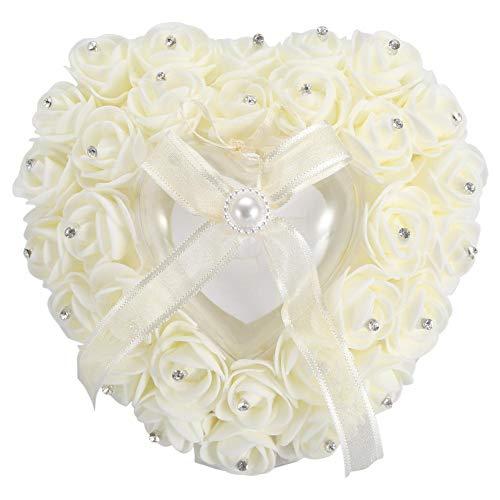 Almohada para Anillo de Bodas, Romántico en Forma de Corazón Elegante Rosa y Diamantes de Imitación Decoración Anillo Cojín Al Portador Caja de Joyería Estuche para Anillo(Beige)