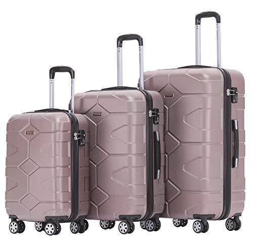 BEIBYE - TSA Schloß 2035 Hartschale Reisekoffer Koffer Handgepäck Trolley (Rosagold, Set)