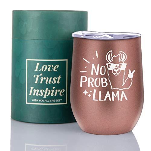 Regalo de llama, divertido vaso de vino de llama, sin llama, vaso de vino de acero inoxidable, 340 ml, perfecto para viajes, para hombres y mujeres en la oficina en casa, oro rosa