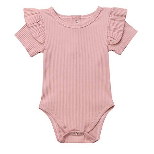 REALIKE Kinder Baby Mädchen Kurzarm-Body im Elegant Rüschen Achselbody im Jumpsuit Mädchen Kleine Schwester Weiß Kleidung Overall Outfits Tops T Shirts