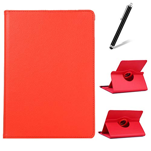 Artfeel Compatible with Samsung Galaxy Tab S4 10.5 2018 T830/T835 Case,360 Degree Rotating Multi-Angle Viewing Stand Cover,Slim Lightweight PU Leather Flip Folio Tablet Case,Red