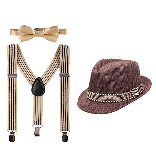 IBAKOM Disfraz de caballero para bebé, para boda, cumpleaños, sesión de fotos, con tirantes en forma de Y, pajarita y sombrero, 3 unidades café talla única