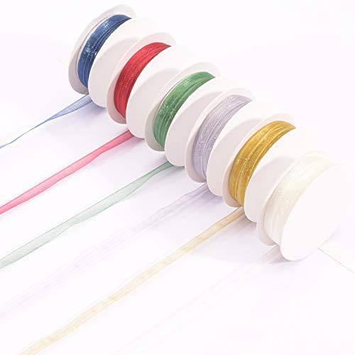 Vaessen Creative Set de Cinta Organza, Mix de 6 Colores, x, Bordes Tejidos para Decoraciones para el Árbol de Navidad, Creaciones de Tarjetas, Envoltorios de Regalos y más Manualidades, 3mm 2m