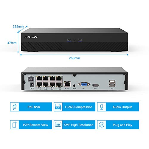 H.VIEW 8CH 5MP NVR H.265 CCTV Network Video Recorder Compatible with Onvif IP Cameras, Plug and Play, Motion Detection, Audio/Video Playback (NO HDD)-8x POE Ports