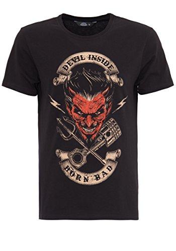 King Kerosin Herren T-Shirt Devil Inside Print Rundhals Kurzarm Regular Fit