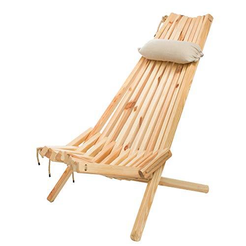 BOGATECO Klappbare Gartenliege aus Holz mit dem Kopfkissen | 100 x 55 x 30 cm | Rückenlänge 90 cm | Sonnenliege | Komfortabel, Stabil & Funktional | Natürliche Farbe ohne Imprägnierung