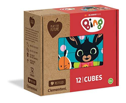 Cubi Play For Future Bing – 12 Piezas – Materiales 100% reciclados – Fabricado en Italia – Puzle cúbicos 3 años – Cubos para niños, Multicolor (45007)