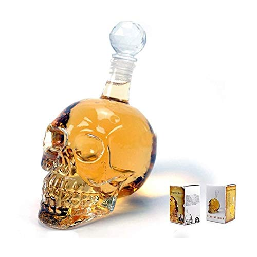 HLR Vasos de Whisky Jarra de Whisky Cráneo De Cristal Vino De La Jarra Multiuso Whisky Decantadores Creativo Vodka Botella Transparente, 500Ml