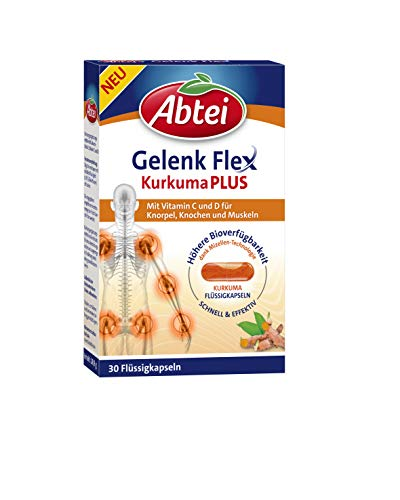 Abtei Gelenk Flex Kurkuma Plus, hochwertige Flüssigkapseln mit patentiertem und Vitamin C und D, für Knorpel, Knochen und Muskeln, 30 Stück, 18.9 g