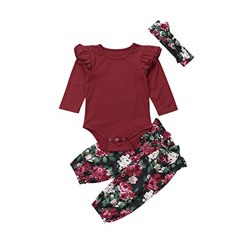 3Pcs Newborn Baby Girls Floral Winter Clothes Long Sleeve Romper Bodysuit Bowknot Pants Handband Outfits Set (Wine Red, 6-12 Months)