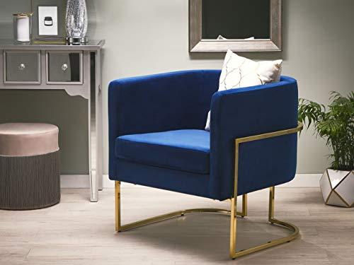 Beliani Halbrunder Sessel aus Samtstoff in Dunkelblau Metallgestell in Gold Sirkka