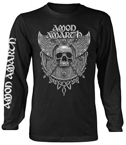 Amon Amarth 'Grey Skull' (Black) Long Sleeve Shirt (medium)