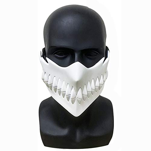 Anime Bleach Kurosaki Ichigo Cosplay Mask White Resin Half Face Adjustable Strap Creepy Adult Accessory Props Halloween