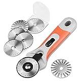 BONROB Cutter Rotanti, Cutter Rotativo da 45 mm con con 6 Lame per Taglio Tessuto, Taglio Carta, Taglio Pelle BO008