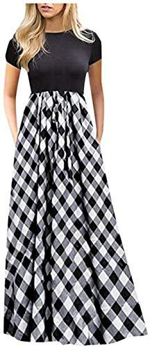 DamonRHalpern Dresses for Women Casual Plaid Print Long Maxi Dress Lady Summer O-Neck Big Swing Short Sleeve Splice Dress Sundress