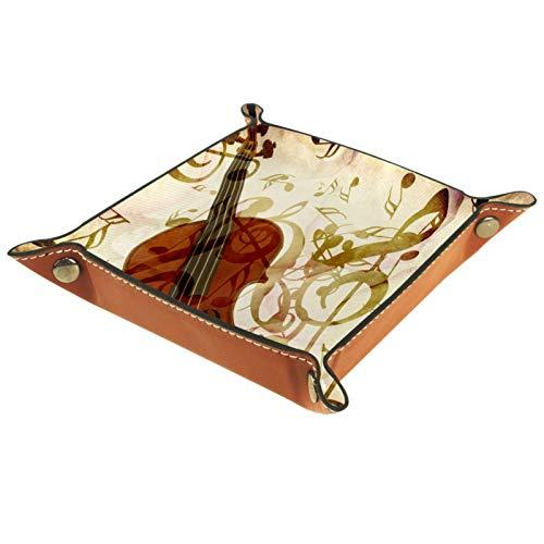 XiangHeFu Bandeja de Cuero Pétalos de Rosa violín Notas Musicales Vintage Almacenamiento Bandeja Organizador Bandeja de Almacenamiento Multifunción de Piel para Relojes,Llaves,Teléfono,Monedas