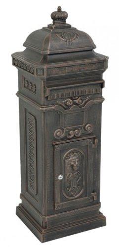 Casa Padrino Standbriefkasten Antik Jugendstil Mod6 Briefkasten Postkasten Alu - Bronzefarben- Säulenbriefkasten - Englischer Briefkasten - Nostalgie