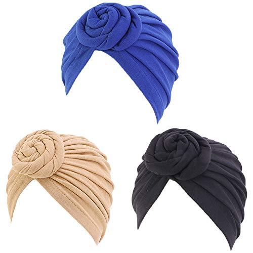 3 Pièces Turban pour Femme Doux Africain Turban Plissé Écharpe de Tête Bonnet Noué Élastique