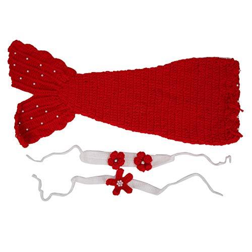 Ropa de bebé niño saco de dormir de lana de sirena para bebés de 0 a 6 meses de lana(red)