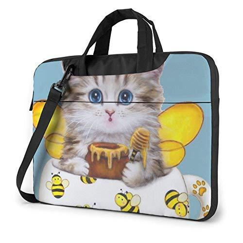 Bolso de Hombro Impreso Lindo Gato y Abeja del Ordenador portátil, maletín del Bolso de Mensajero del Negocio del Bolso de la Caja del Ordenador portátil