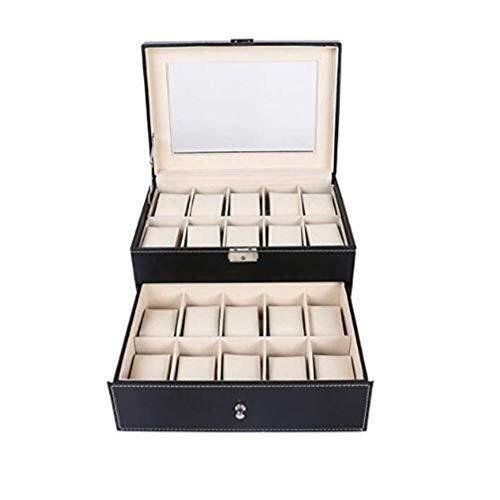 LKAIBIN Caja de reloj, exhibición de la joyería cajas de almacenamiento con tapa de cristal y la eliminación de almacenamiento almohadas Caja de regalo for el día de San Valentín cumpleaños Hombres Mu