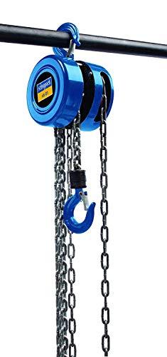 SCHEPPACH CB1 Palan Manuel à Chaine avec Crochet Robuste, 1T de Charge max et 3m de Levage max, Bleu