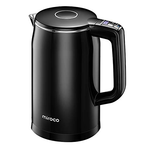 Miroco Electric Kettle Temperature Control 1.7L Double Wall Keep Warm, Anti-scald Tea Kettle 100% Stainless Steel BPA-Free Hot Tea Kettle, Auto Shut-Off, Boil-Dry Protection, 1500W Fast Boiling-120V