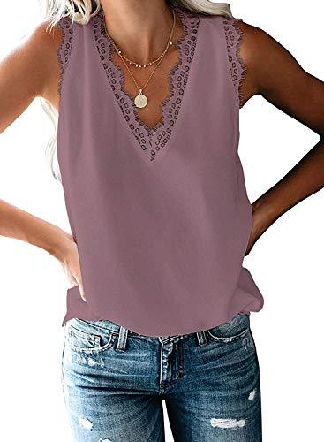 HARHAY Women's V Neck LaceTrim Casual Tank Tops Sleeveless Blouses Shirts Mauve M